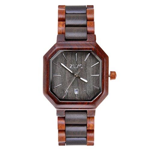 ZLYC Unisex Holz Bangle Quarz Uhr Mit Kalender Display Two Tone Natuerliche Sandelholz Hoelzerne Uhr Japanisches Quarzwerk Zeiger