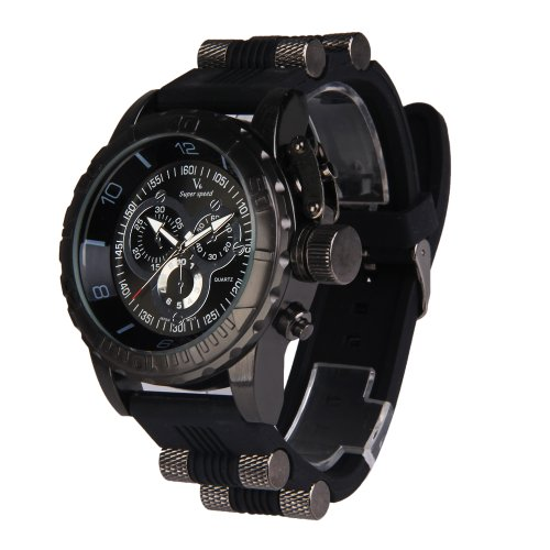 Vktech Super Speed Quartz Herrenarmbanduhr Rund Zifferblatt Schwarz Silikon Armband