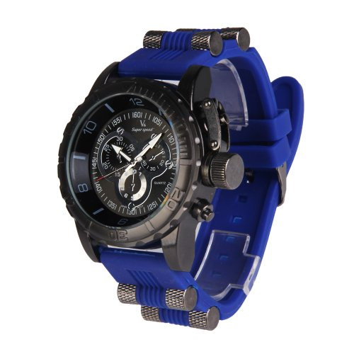 Vktech Super Speed Quartz Herrenarmbanduhr Rund Zifferblatt Blau Silikon Armband