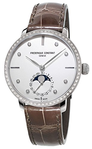 Frederique Constant Manufacture Slimline Moonphase Steel Diamond Womens Watch Date FC 703SD3SD6