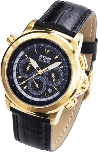 2 Can Professional Timepieces Traveller Chronograph SL1596C BK Elegante Goldenes Gehaeuse