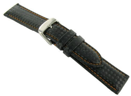 20mm Hadley Roma Carbon Fiber Style Black Padded Watch Band with Orange Stitching