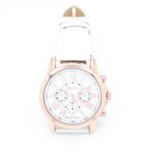 Susenstone Damenmode Genf roemischen Ziffern Leder analoge Quarz Armbanduhr