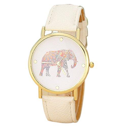 Susenstone Frauen Elephant Druckmuster spann lederne Quarz Zifferblatt