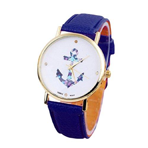 Susenstone Damen Weinlese Blumen Uhr Anchor Leder Quarz Uhr