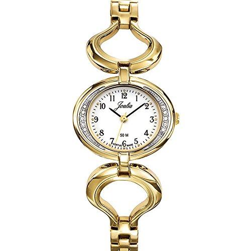 Joalia 631934 Damen Armbanduhr 045J699 Analog weiss Armband Metall gold