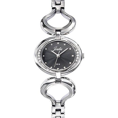 Joalia 633336 Damen Armbanduhr Quarz Analog Zifferblatt schwarz Armband Metall silber