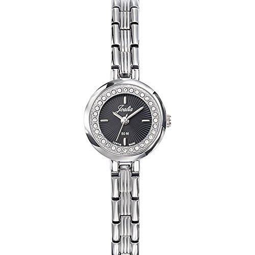 Joalia 633339 Damen Armbanduhr Quarz Analog Zifferblatt schwarz Armband Metall silber