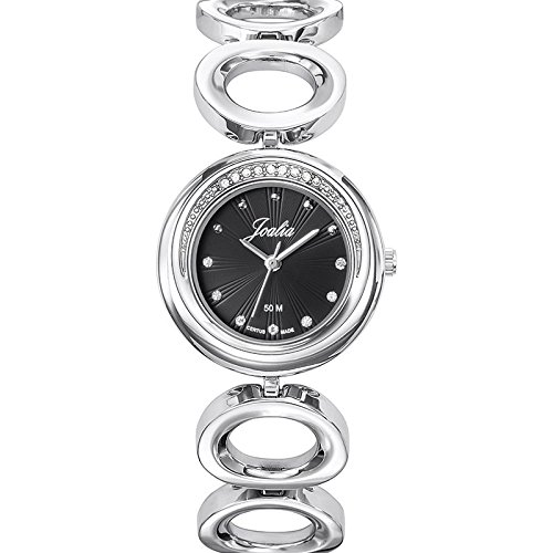 Joalia 633340 Damen Armbanduhr Quarz Analog Zifferblatt schwarz Armband Metall silber