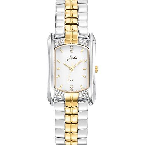 Joalia 634566 Damen Armbanduhr 045J699 Analog weiss Armband Metall Zweifarbig