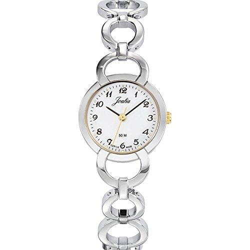 Joalia 634595 Damen Armbanduhr 045J699 Analog weiss Armband Metall Zweifarbig