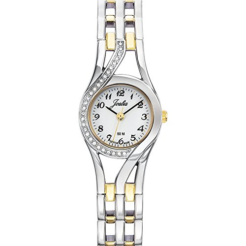 Joalia 634597 Damen Armbanduhr 045J699 Analog weiss Armband Metall Zweifarbig