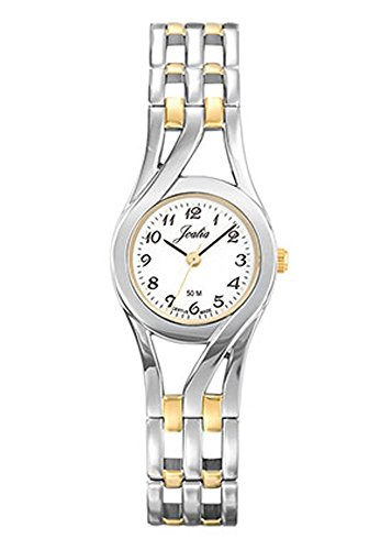Joalia Damen Armbanduhr 634606 Armband Verchromter Stahl und Gold Gehaeuse rund zweifarbig Zifferblatt weiss
