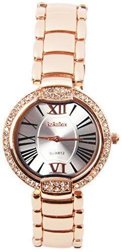 rorodox Damen Luxus Rose Gold Diamant Crystal roemischen Ziffern Mark Uhren rx143r