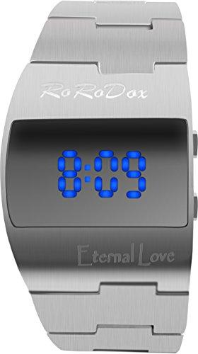 rorodox blau LED Display Luxus Army Military Handgelenk Uhren Silber rx167sl