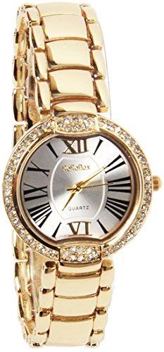 rorodox Lady Damen Luxus Gold Uhren Diamant Kristall roemischen Ziffern Mark rx145y