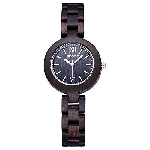 sililiun Holz Uhren fuer Frauen Analog Quarz Holz Lady Armband Uhren schwarz