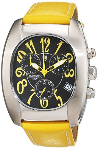 Lancaster Herren Armbanduhr Chronograph Quarz Leder 0289 S Gelb DS