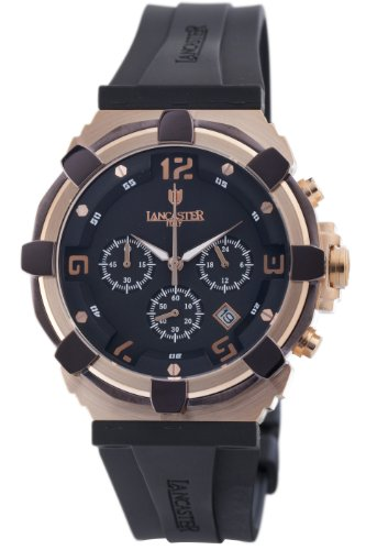 Lancaster Herren OLA0440L RG NR NR Robusto Chronograph Black Dial Rubber Uhr