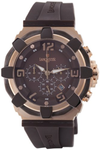 Lancaster Herren OLA0440RG MR MR Robusto Chronograph Brown Dial Rubber Uhr