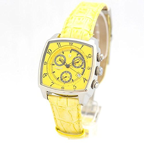 Lancaster Uhr Unico yellow Quarz Chrono Datum Leder modische Damenarmbanduhr 0262 SGeL