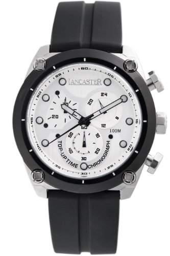 Lancaster Herren OLA0380BN Top Up Time Chronograph Black Dial Silikon Uhr