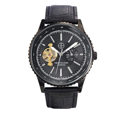 Trendy Classic automatic cc1028 02 montre homme automatique boitier Stahl noir cadran noir bracelet Leder schwarz
