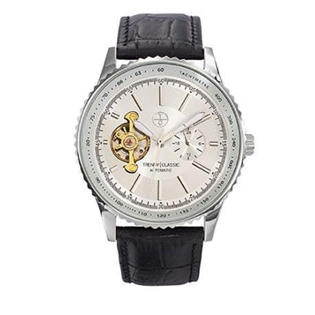 Trendy Classic automatic cc1028 03 montre homme automatique boitier acier cadran Farbe acier bracelet Leder schwarz