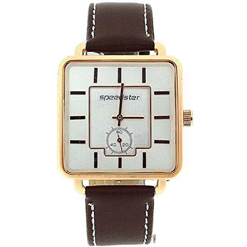 Speedster elegante weisse Herren Armbanduhr mit quadratischem Zifferblatt und PU Armband S242