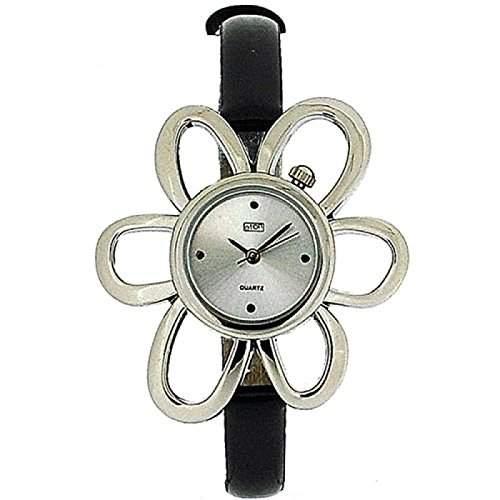 Eton schwarzes Blumengehaeuse, schmales Armband Uhr