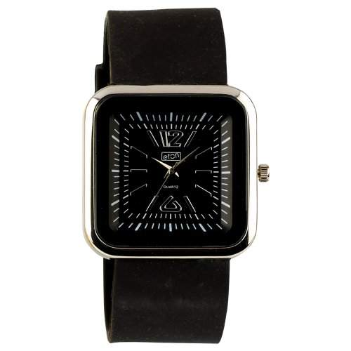 Eton Damen Armbanduhr Square 2897-0, Silikon, Schwarz