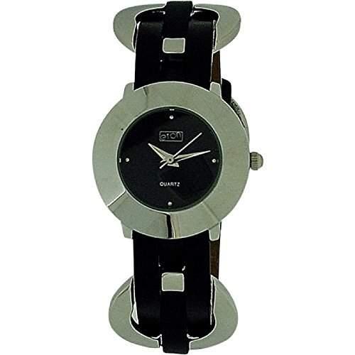 Eton Damenuhr, geflochtene Ringe, schw Zifferblatt, schw PU-Armband, 2903L