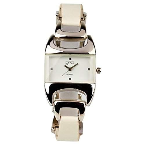 Eton Damen Modeuhr mit laenglichem weissen Zifferblatt und weissem Armband 2933L