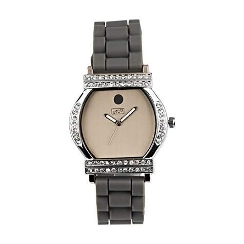 Eton Damen Kristall Tonneau Modeuhr mit silbernem Zifferblatt und grauem Armband 2999L