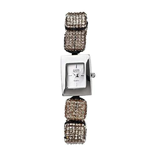 Eton Damenmode Watch, Grau Diamante Cube, Ajustable Shamballa Style-Armband - 3020L-GY