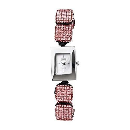 Eton Damenmode Watch, Rosa Diamante Cube, Ajustable Shamballa Style-Armband - 3020L-PK