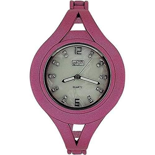 Eton Damenuhr, Perlmutt Zifferbl, kristallbes, rosa Metallband, Bangle 3054L