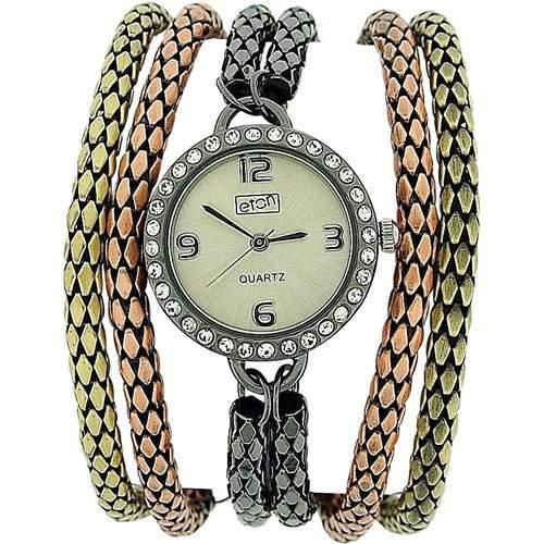 Eton mit Steinen besetzte Damenuhr, 3 farbiges Strangarmband, 3064L