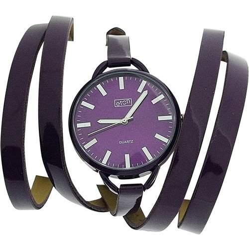 Eton Damenuhr, violettes Zifferblatt, extralang viol Wickelarmband, 3080L