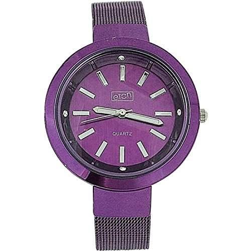Eton Damen Modeuhr mit violettem Zifferblatt und Maschenarmband, 3081L