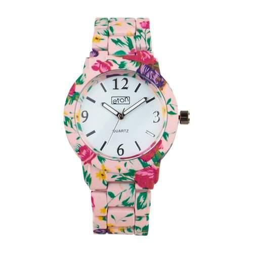 Eton Blumendruck, weiche NotenOberflaeche Boyfriend Uhr - rosa Farbe - 3150L-PK