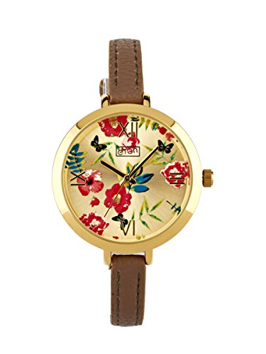 Eton Blumendruck Dial Braun Buegel Uhr Gold Ton Finish 3238L FBGD