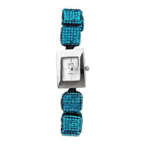 Eton Damenmode Watch Aqua Blau Diamante Cube Ajustable Shamballa Style Armband 3020L AQ