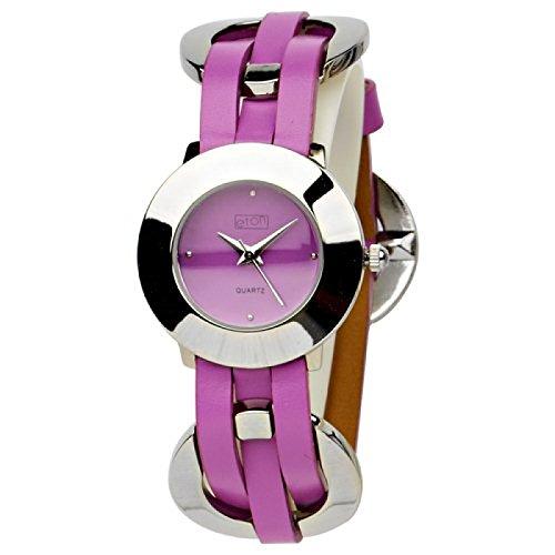 Eton Damen Modearmbanduhr mit purpur Zifferblatt und geflochtenen Gliedern 2903L