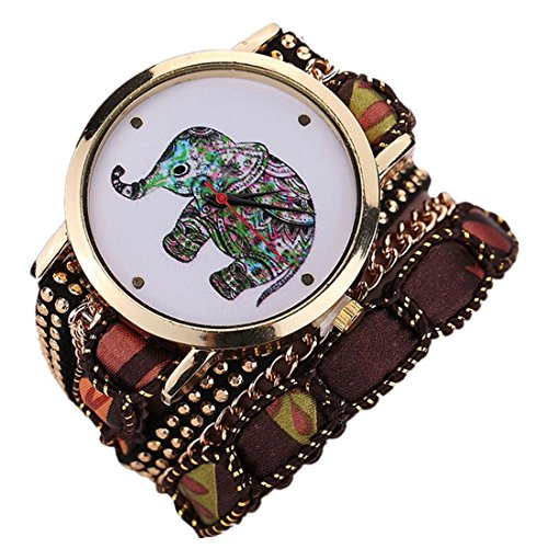 Ouneed Uhren Elegant Damen Uhr Frauen Maedchen Rhinestone Elefant Muster Quarz Armband Armbanduhr Braun