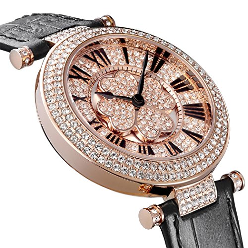 Pb Damen OEsterreichischer Kristall Rose Gold drehbar Lucky Gras Damen Kleid hl606pc