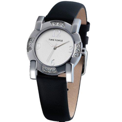 Uhr Time Force Frau Stahl schwarzes Lederband Zifferblatt Silber tf 3166l02