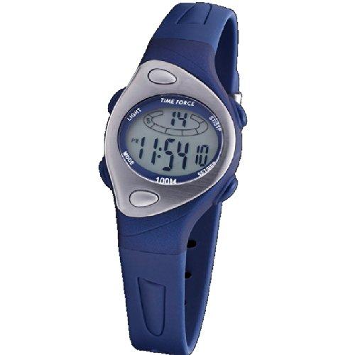 Uhr Time Force Crewman Frau Digital Wasserdicht Crono Alarm und Licht Kautschuk blau tf 3184b03