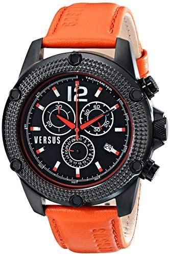 Versus MenHerren Quarzuhr mit schwarzem Zifferblatt Chronograph Anzeige und Orange Lederband SOC02 0014