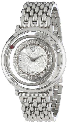Versace Damen Armbanduhr 39mm Armband Edelstahl Gehaeuse Schweizer Quarz Zifferblatt Silber VFH010013